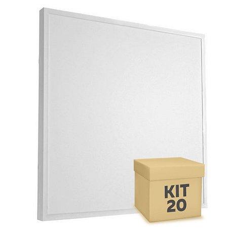 Kit 20 Luminária Plafon 60x60 48W LED Sobrepor Branco Frio Borda Branca