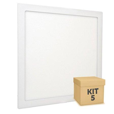 Kit 5 Luminária Plafon 40x40 36w LED Embutir Branco Neutro