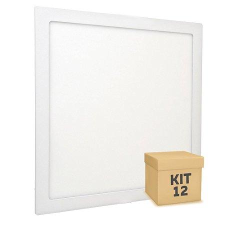 Kit 20 Luminária Plafon 40x40 36w LED Embutir Branco Neutro