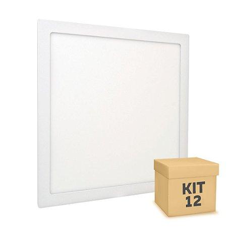 Kit 12 Luminária Plafon 40x40 36W LED Embutir Branco Frio Borda Branca