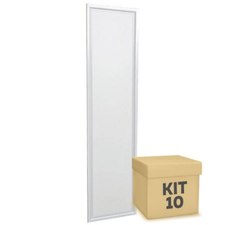 Kit 10 Luminária Plafon 30x120 48w LED Embutir Branco Frio