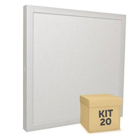 Kit 20 Luminária Plafon 40x40 36w LED Sobrepor Branco Neutro