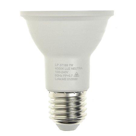 Lâmpada LED Par20 7W E27 Bivolt Branco Neutro | Inmetro