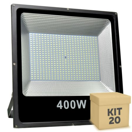 Kit 20 Refletor Holofote MicroLED Slim 400W Branco Frio