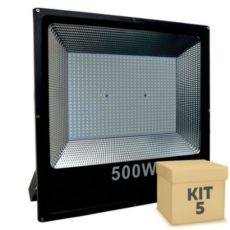 Kit 5 Refletor Holofote MicroLED Slim 500W Branco Frio