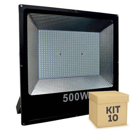 Kit 10 Refletor Holofote MicroLED Slim 500W Branco Frio