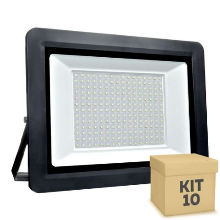 Kit 10 Refletor MicroLED SMD Ultra Thin 400W Branco Frio