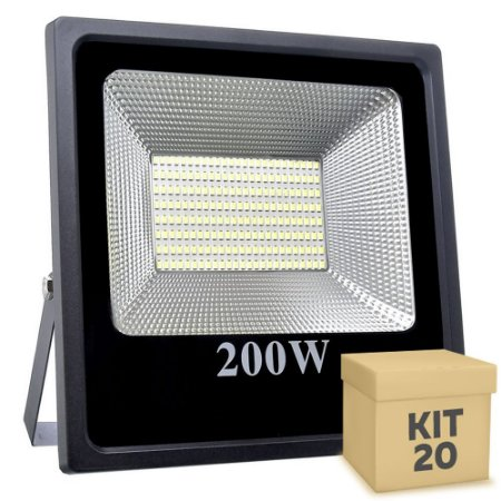 Kit 20 Refletor Holofote MicroLED Slim 200W Branco Quente