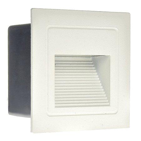 Balizador LED 3W De Embutir Quadrado Branco Quente Branco