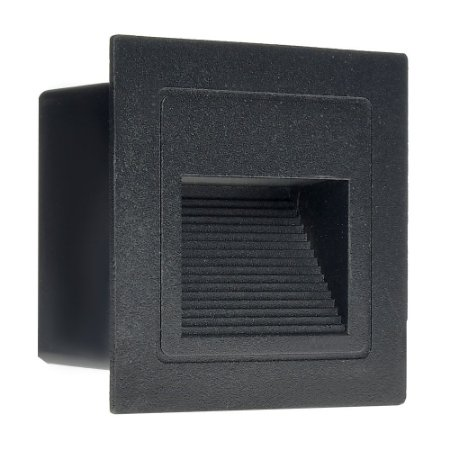 Balizador LED 3W De Embutir Quadrado Branco Quente Preto