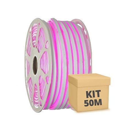 Mangueira LED Neon Rosa 50 metros 110v - À prova d'água