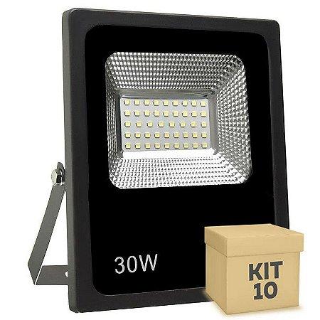 Kit 10 Refletor Holofote MicroLED SMD Slim 30W Branco Quente