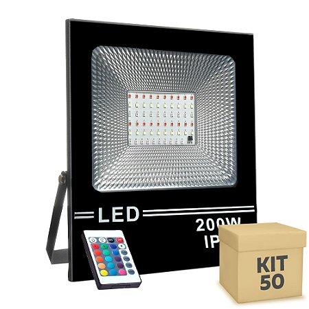 Kit 50 Refletor Holofote MicroLED SMD Slim 200W RGB Colorido com Controle