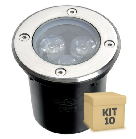 Kit 10 Spot Balizador LED 3W Branco Morno para Piso