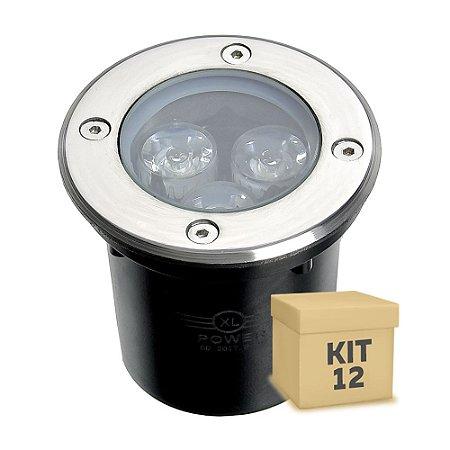 Kit 12 Spot Balizador LED 3W Branco Morno para Piso