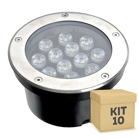 Kit 10 Spot Balizador LED 12W Branco Quente para Piso