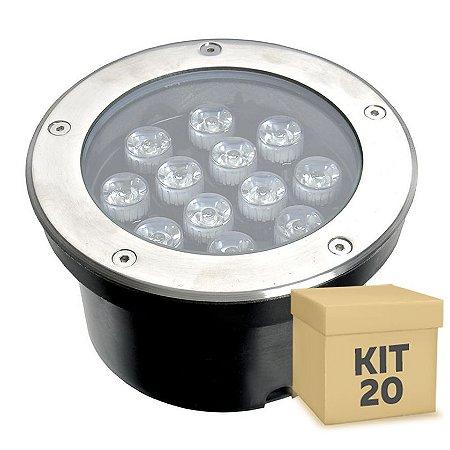 Kit 20 Spot Balizador LED 12W Branco Quente para Piso