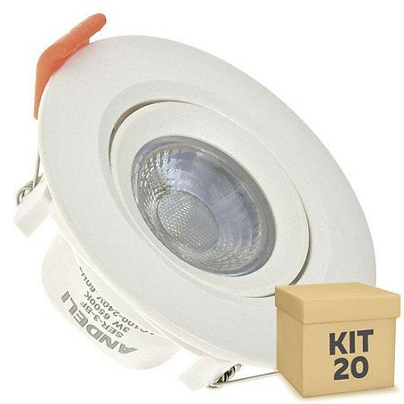 Kit 20 Spot LED SMD 3W Redondo Branco Frio