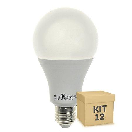 Kit 12 Lâmpada LED Bulbo E27 20W Bivolt Branco Frio | Inmetro