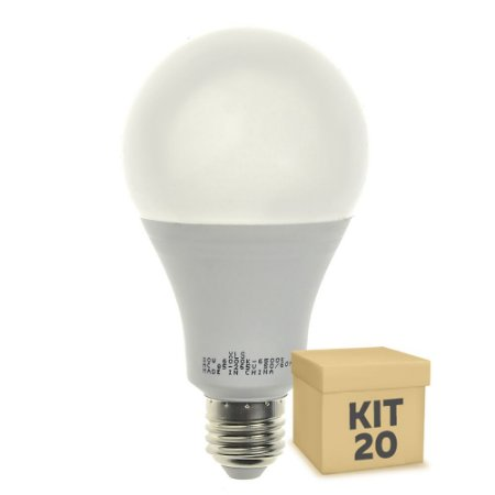 Kit 20 Lâmpada LED Bulbo E27 20W Bivolt Branco Frio   Inmetro