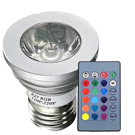 Kit 12 Lâmpada LED Dicroica 3W E27 RGB com Controle | Inmetro