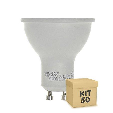 Kit 50 Lâmpada LED Dicroica 6,5w GU10 Branco Frio | Inmetro