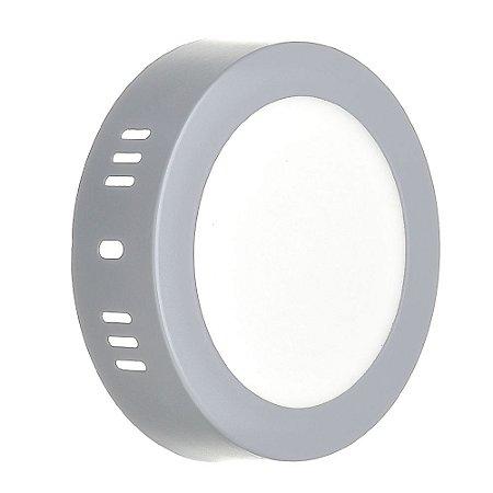 Luminária Plafon LED 6w Sobrepor Branco Frio Cinza