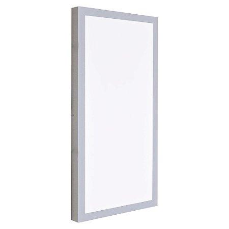 Luminária Plafon 30x60 LED 36W Sobrepor Branco Frio Cinza