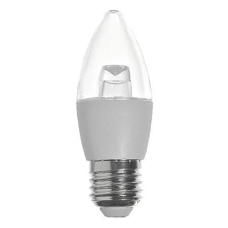 Lâmpada LED Vela Cristal E27 4,5W Bivolt Branco Quente | Inmetro