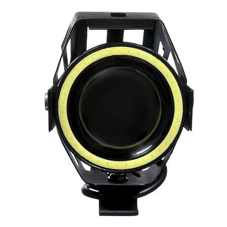 Farol de Milha LED para Moto Angel Eyes 15W Auxiliar 12V