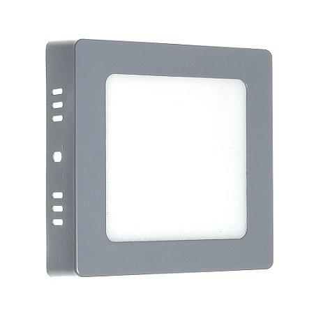 Luminária Plafon 6w LED Sobrepor Branco Frio Cinza