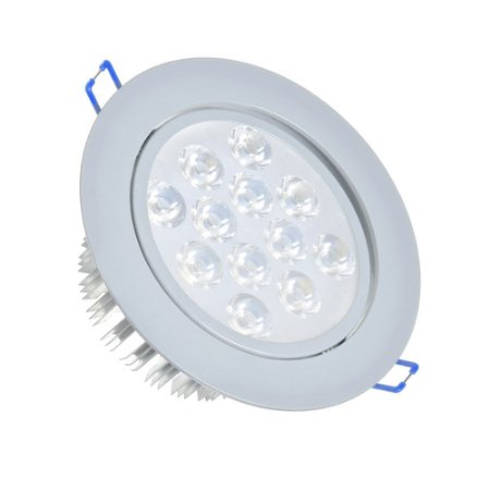 Spot LED 12w Dicróica Embutir Redondo Base Cinza