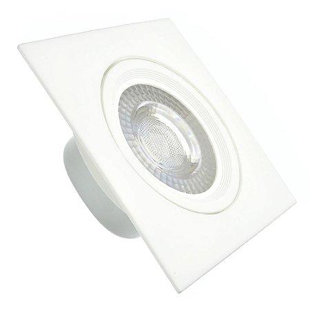 Spot LED 7W SMD Embutir Quadrado Branco Neutro Base Branco