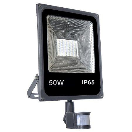Refletor Holofote Micro LED SMD Sensor de Presença 50W Branco Frio