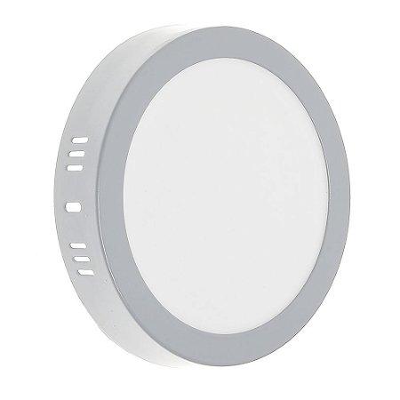 Luminária Plafon LED 12w Sobrepor Branco Frio Borda Cinza