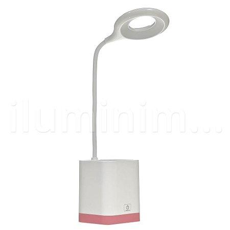 Luminária de Mesa LED com Porta Caneta Touch Pilha Branca e Rosa