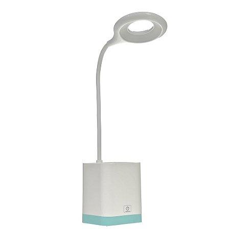 Luminária de Mesa LED 3 Tons Porta Caneta Touch Branca e Azul