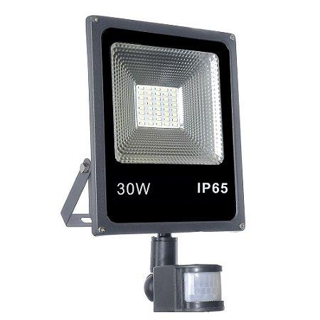 Refletor Holofote Micro LED SMD Sensor de Presença 30W Branco Frio