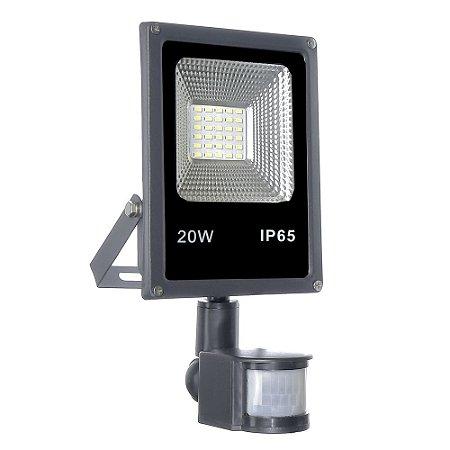 Refletor Holofote Micro LED SMD Sensor de Presença 20W Branco Frio