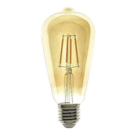 Lâmpada LED Vintage Pera ST64 4W 110V Branco Quente Dimerizável | Inmetro