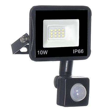 Refletor MicroLED Ultra Thin 10W Branco Frio Black Type Sensor