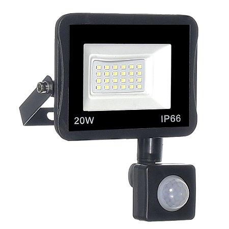 Refletor MicroLED Ultra Thin 20W Branco Frio Black Type Sensor