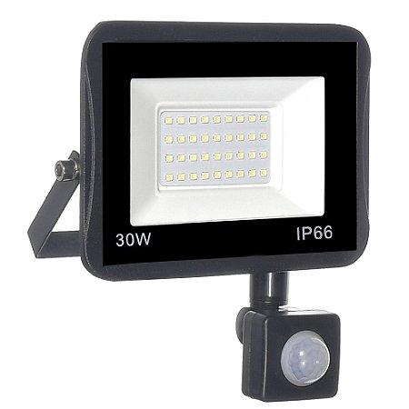 Refletor MicroLED Ultra Thin 30W Branco Frio Black Type Sensor
