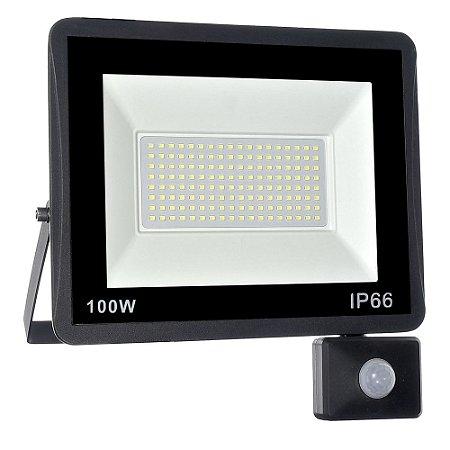 Refletor MicroLED Ultra Thin 100W Branco Frio Black Type Sensor