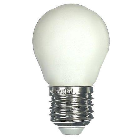 Lâmpada LED Bolinha 2W Leitosa Branco Quente | Inmetro
