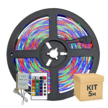Fita Led RGB Colorida 3528 5 metros com Fonte/Carregador - 24W