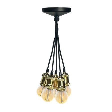 Pendente 5 Lâmpadas em Alumínio Espelhado Dourado E27