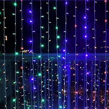 Cortina de LED 300 LEDs Cascata 3m x 3m RGB Colorida Bivolt
