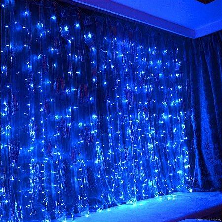 Cortina de LED 300 LEDs Cascata 3m x 3m Azul Bivolt