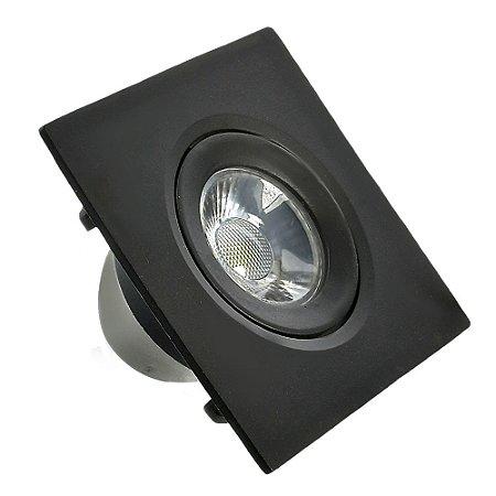 Spot LED SMD 3W Quadrado Branco Quente Preto